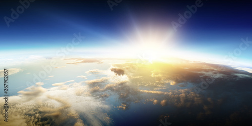 Tuinposter Heelal Sunrise on planet orbit, space beauty
