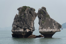 Kissing Rock Or Chicken Rock At Halong Bay Northeast Vietnam Is Towering Limestone Islands Topped By Rainforests