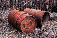 Old Rusty Painted Barrels Outd...