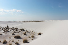 Desert Landscape With White Sand And Blue Sky In White Sands National Park, New Mexico