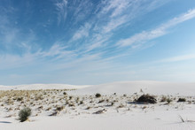 Desert Landscape With White Sand, Blue Sky And Clouds At White Sands National Park, New Mexico