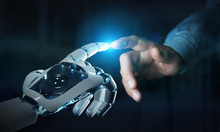 Robot Hand Making Contact With Human Hand On Dark Background 3D Rendering