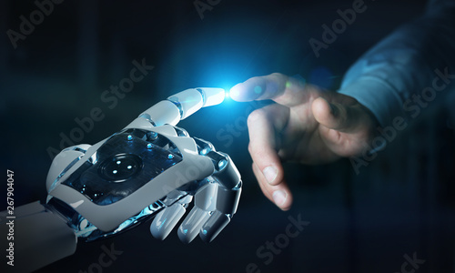 Robot hand making contact with human hand on dark background 3D rendering - 267904047
