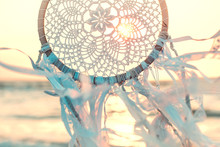Dream Catcher Against Sunrise. Handmade Work Is Ethnic Symbol
