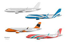 Airplane Design. Side View Of Plane. Aircraft 3d Template. Jet Mockup In Realistic Style. Isolated Industrial Blueprint.