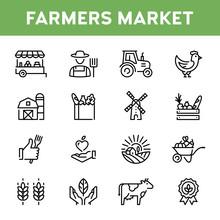Vector Farmers Market Icon Set