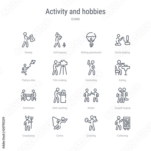 set of 16 activity and hobbies concept vector line icons such as collecting, coloring, comic, cosplaying, couple huging, dealer, dish washing, dominoes Wallpaper Mural