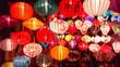 Leinwanddruck Bild - Decoration lanterns at Night Market , Hoi An, Vietnam.