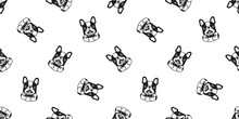 Dog Seamless Pattern Vector French Bulldog Ice Cream Cartoon Scarf Isolated Tile Background Repeat Wallpaper Illustration Doodle