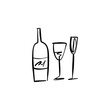 One line modern icon glass and bottle of wine set, hand drawn sketch vector