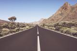 Vintage toned scenic road in Teide National Park, Tenerife, Spain