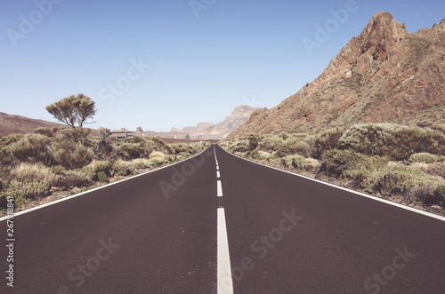mata magnetyczna Vintage toned scenic road in Teide National Park, Tenerife, Spain