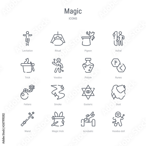 set of 16 magic concept vector line icons such as voodoo
