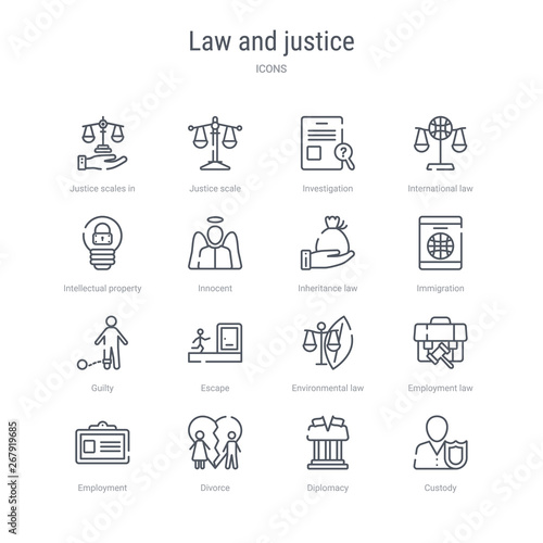 Pinturas sobre lienzo  set of 16 law and justice concept vector line icons such as custody, diplomacy, divorce, employment, employment law, environmental law, escape, guilty