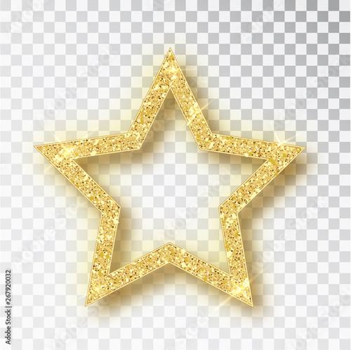 Obraz Gold glitter vector star. Golden sparkle luxury design element. Vector particles. - fototapety do salonu