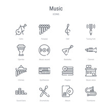 Set Of 16 Music Concept Vector...