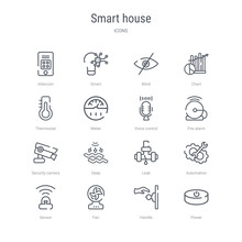 Set Of 16 Smart House Concept Vector Line Icons Such As Power, Handle, Fan, Sensor, Automation, Leak, Deep, Security Camera. 64x64 Thin Stroke Icons