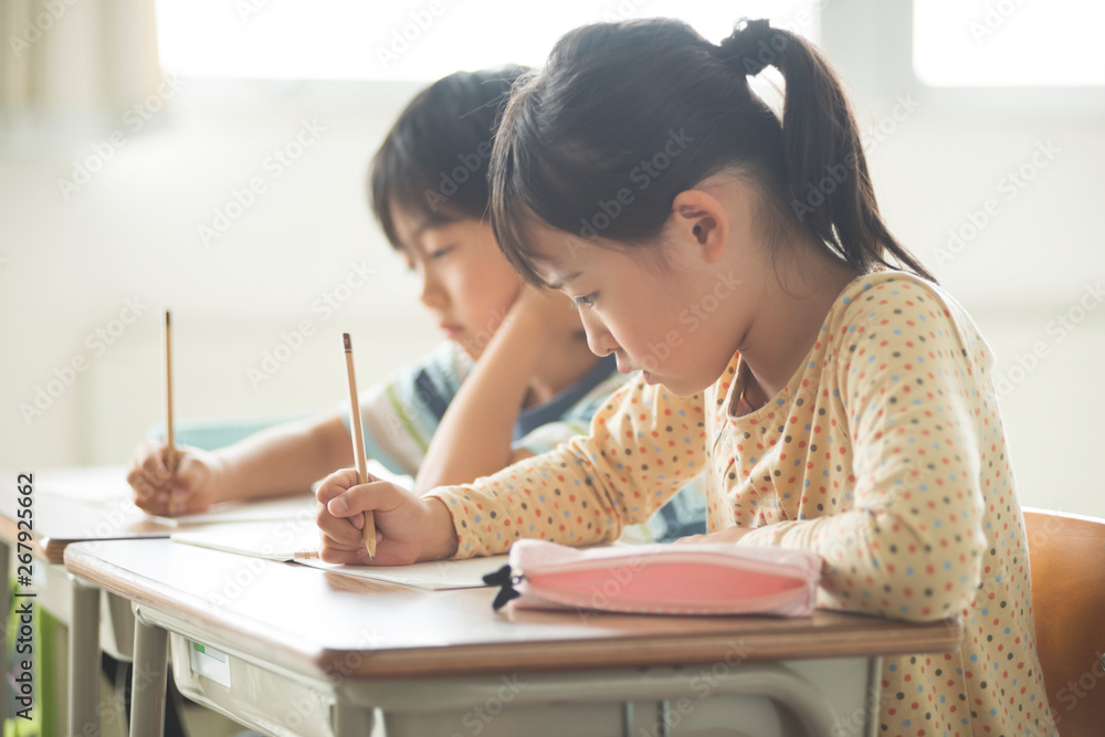 Fototapeta 勉強をする小学生