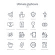 set of 16 ultimate glyphicons concept vector line icons such as washing machine with dots, circle menu, attach rotated, medicine mortar, man and tree, message balloon, calendar with letter x, big
