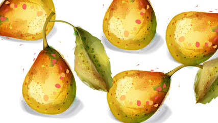 Pear fruits Vector watercolor pattern. delicious summer harvests