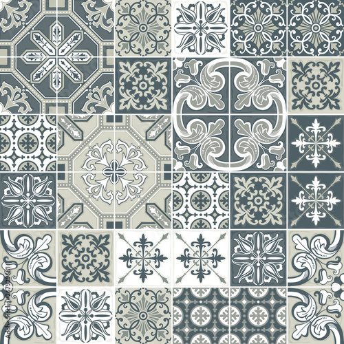 Azulejo tile seamless pattern. Traditional Portuguese ornament in patchwork style. Fototapete