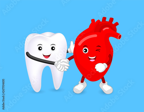 Valokuva Cute cartoon tooth and heart shaking hands as a partner
