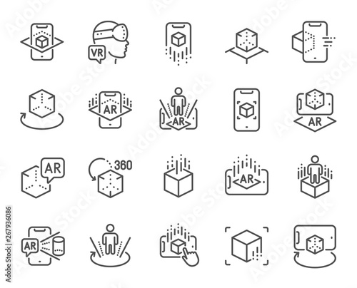 Photo Augmented reality line icons