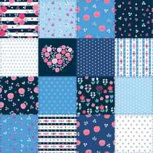 Summer Patchwork Background With Different Flowers Patterns For Textile, Gift Wrap And Scrapbook. Vector Illustration.