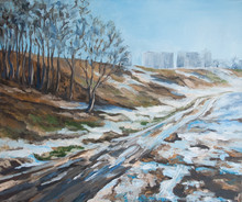 Winter Landscape With A Road A...