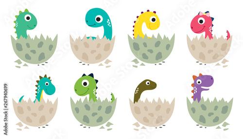 Cute cartoon dinosaurs collection Wallpaper Mural