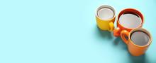 Black Tea (coffee) In Bright Cups, Office Break, Team Building.