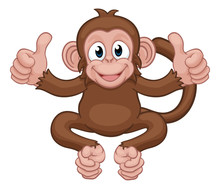 A Monkey Cute Happy Cartoon Ch...