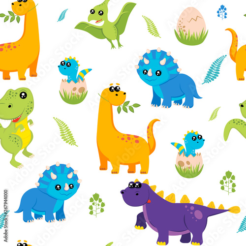 Acrylic Prints Dinosaurs Cute kids dinosaurs pattern for girls and boys. Colorful dinosaurs on the abstract grunge background.. The dinosaurs pattern is made in neon colors. Urban pattern. backdrop for textile and fabric.