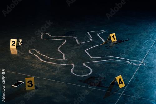 chalk outline and evidence markers at crime scene Fotobehang