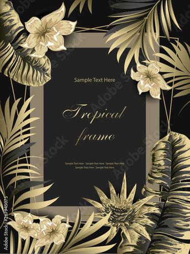 Fototapeta Palms With Flowers Golden On Black Background Vector Card Template Thank You Blank Wedding Invitation Greeting Card Banner