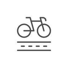 Bike Lane Line Outline Icon