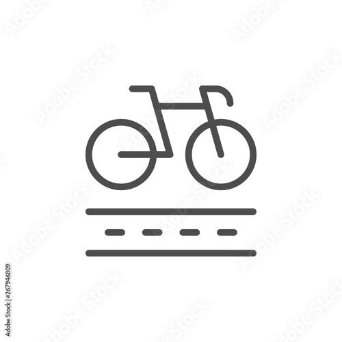 Bike lane line outline icon Canvas Print