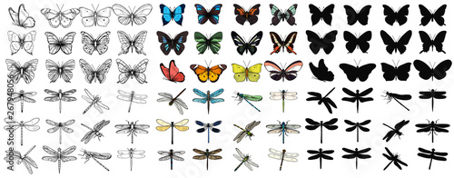 Photo  vector isolated set of multicolored butterflies and dragonflies