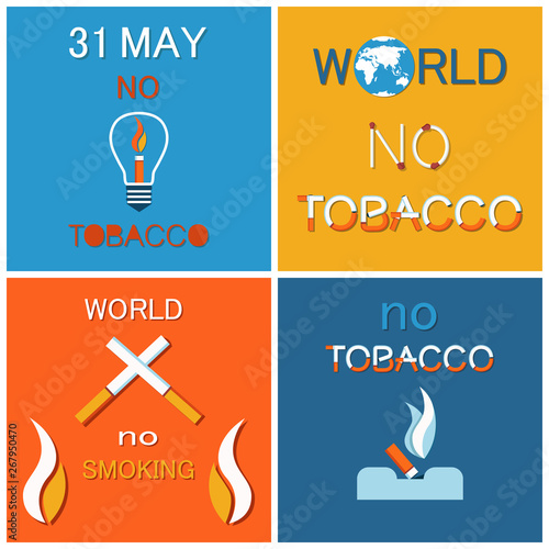 WNTD World no tobacco day 31 May, cigarette in lamp, crossed smoking objects, cigar in ashtray Canvas Print
