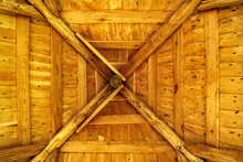 Wooden Ceiling, Interior Of A Log Cabin