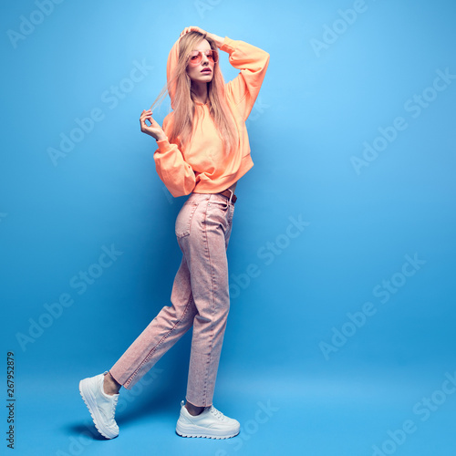 Fashion Young Woman In Stylish Neon Hoodie Jeans Having