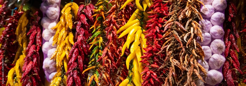 Fototapety, obrazy: Red and yellow paprika and other spices