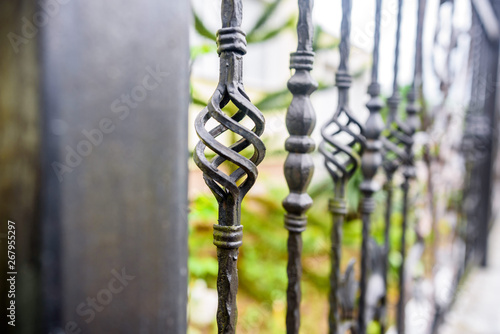 Photo wrought iron fence close up