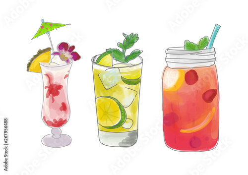 Fototapeta Set of alocohol coctails summer time on white background