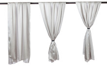 Vertical Grey Satin Curtains Isolated On White.