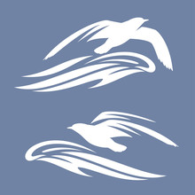 Sea Gull Bird Flying Above Ocean Wave - Vector Silhouette Design