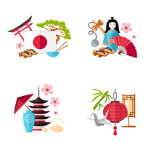 A Set Of Ready-made Cards With Popular Symbols Of Japan. Vector Illustration In Flat Style. Set Composition On A Tourist Theme.