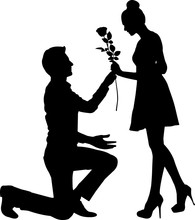 Couple Engaged Silhouette Vector