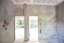 Modern House Interior Building Cement Room With Door And Windoor Block