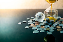 Global Business Investment Growth. Wealth Concept. Gold Sand Running Through The Shape Of Modern Hourglass With World Globe Crystal Glass And US Dollar Coins On Green Reflective Table.